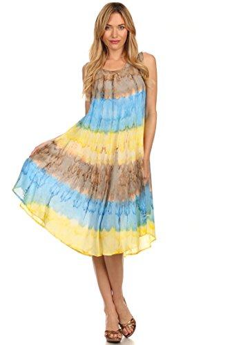 Sakkas Wüstensonne Kaftan Kleid oder Vertuschung für Damen Blau / Braun