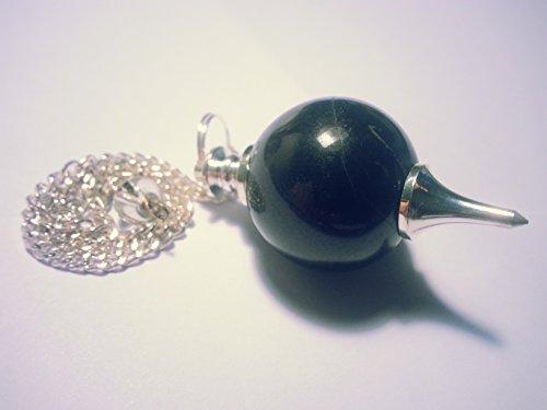 Edelstein Kugelpendel Aventurin Amethyst Bergkristall versch. Sorten (Turmalin schwarz)