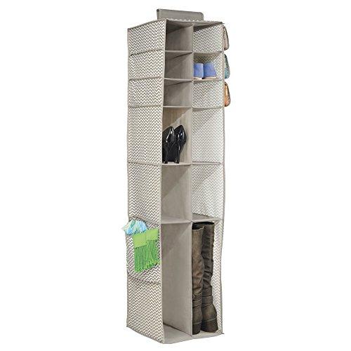 Mdesign organizzatore armadio pensile in tessuto per scarpe, stivali, borse, borsette - 16 scomparti, grigio scuro / naturale