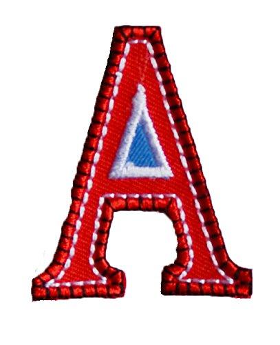 A 5cm hoch rot blau Stoff Aufbügler Buchstabe Bügelbild Aufnäher zum Aufbügeln auf Nähen Stoff Applikationen Annähen