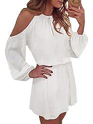 YOINS Sommerkleid Damen Kurz Schulterfrei Kleid Elegante Kleider für Damen Strandmode Langarm Neckholder A Linie Weiß-1 EU36-38(Kleiner als Reguläre Größe)