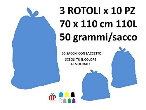 30 Sacchi PATTUME Resistenti 70x110 cm 110L 50gr/Sacco (3 Rotoli x 10 PZ) del Colore A Scelta Sacchi Made in Italy per Raccolta DIFFERENZIATA IMMONDIZIA.