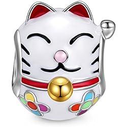 NINAQUEEN Charms Encaja con Pandora Joyas para Mujer Pulsera Gato Animal Plata de Ley 925 Esmalte Abalorios Regalos Originales para Mujer niñas Madre Hija Esposa de cumpleaños