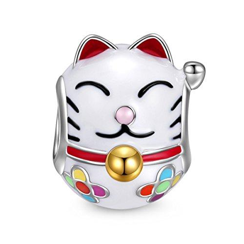 NINAQUEEN Charm für pandora charms Armband Schmuck für Frauen Katze Tier Silber 925 Emaille Perlen Geschenk für Frauen Mädchen Geburtstagsgeschenk für Frauen Mutter Ehefrau Freundin