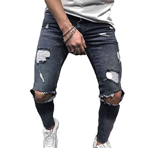 Jeans denim skinny fit elasticizzati da uomo jeans skinny strappati sfilacciati stretch sfilacciati grigio 3xl