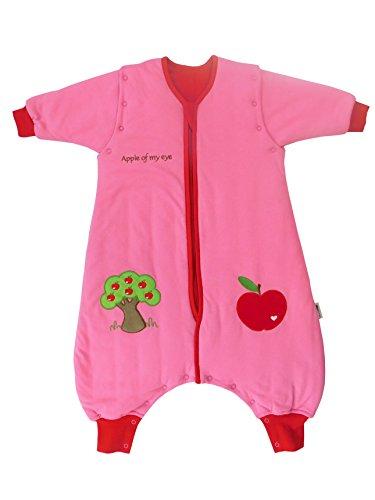 Schlummersack Schlafsack mit Füßen ganzjährig in 2.5 Tog mit abnehmbaren Ärmeln - Roter Apfel - 70 cm (12-18 Baby Monate Kostüme)