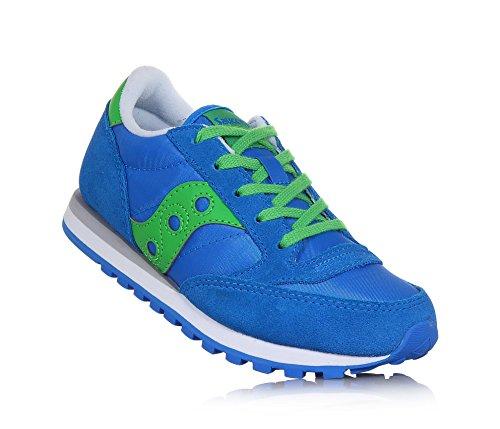 Saucony Blauer Sportschuh mit Schnürsenkeln Aus Wildleder und Stoff, Grüne Lederapplikationen, Jungen-34