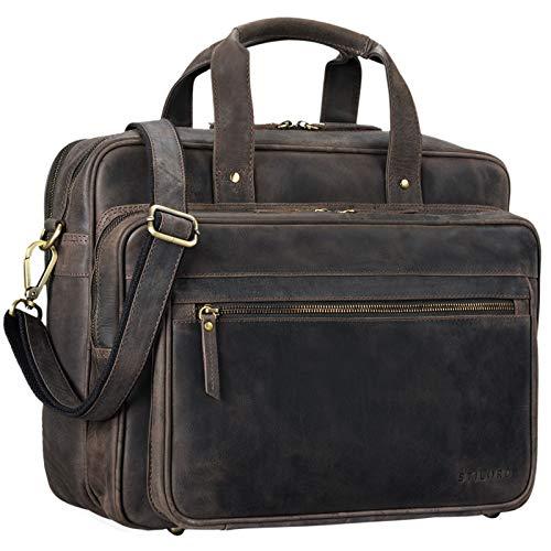STILORD \'Walt\' Vintage Aktentasche Leder Herren Damen Lehrertasche XL groß Büro Business Umhängetasche für 15,6 Zoll Laptop Echt Leder, Farbe:dunkel - braun
