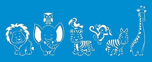 42cm x 17cm Flexibel Kunststoff Universal Schablone - Wand Airbrush Möbel Textil Decor Dekorative Muster Design Kunst Handwerk Zeichenschablone Wandschablone - Safari Tiere Elefant Löwe