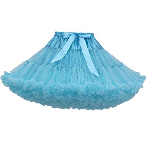 ck Mädchen Tutu Rock Petticoat Unterrock Ballett Kostüm Tüll Röcke überlagerte Rüsche Festliche Tütüs Erwachsene Pettiskirt Ballerina Für Dirndl Rock Layered Vintage Pfauen Blau (Erwachsene Pfau Tutu)