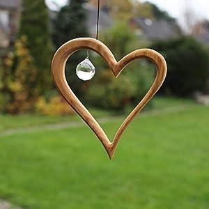 Fenster Deko zum Aufhängen | Herz aus Holz | Regenbogenkristall | Fensterschmuck | Fensterdeko Geschenkidee Valentinstag Muttertag