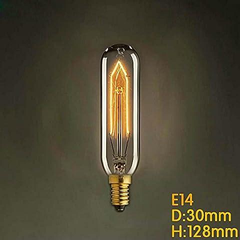 D30mm * H128mm E14 T10 40W Weinlese-Birnen-Glühlampe E14 Retro- Edison-Birne Wechselstrom 220V für Wohnzimmer