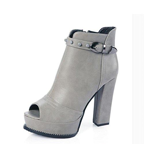 L@YC Frauen Fisch Mund High Heels Im Fr¨¹hjahr und Herbst In groben dunklen wasserdichten Stiefel Schwarz Grau Gray