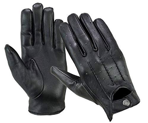 Guanti da guida da uomo, in vera pelle morbida, alla moda, per motocicletta, guanti stile vintage LN101, Nero (Black), M
