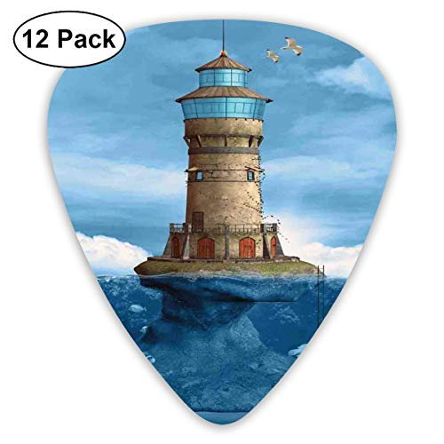 Celluloid Guitar Picks - 12 Pack,Abstract Art Colorful Designs,Lighthouse Seagulls Birds Architecture Maritime Reef Fish Undersea Scenic View,For Bass Electric & Acoustic Guitars. -