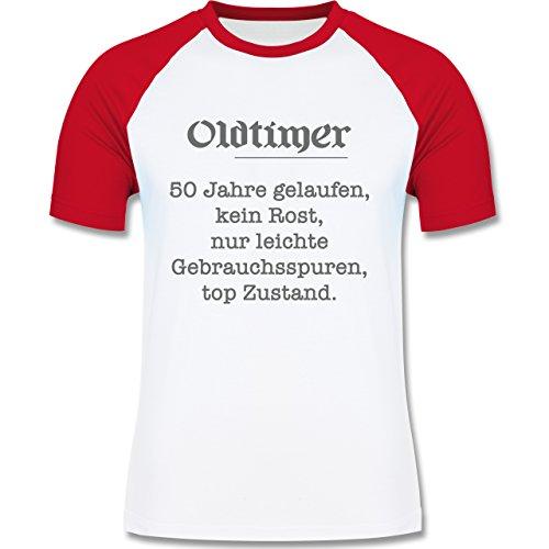 Geburtstag - 50 Jahre Oldtimer Fun Geschenk - zweifarbiges Baseballshirt für Männer Weiß/Rot
