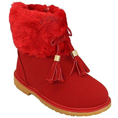 Mädchen Schnee Pelz Stiefel Jungen Schuhe Kleinkinder Militär Warm Winter Hoch Knöchel Schnüren Rot - WB04