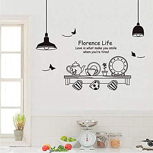 Wandaufkleber Kronleuchter Teekanne Tasse Für Küche Restaurant Wohnzimmer Hintergrund Wanddekor Kreative Kunst Decalswohnzimmer Kinderzimmer