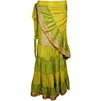 Mogul Interior Womens Wrap Skirts Ruffle Flare Printed Upcycled Silk Sari Maxi Skirts Summer Beach Boho OneSize