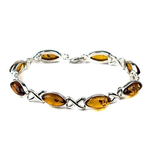Bernstein Sterling Silber Keltisches Armband 19 cm Irische Armbänder Für Frauen