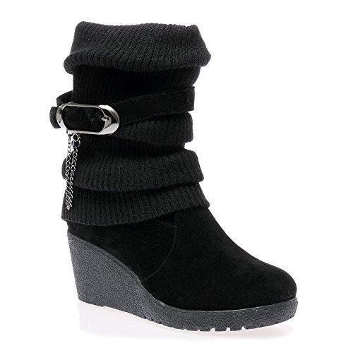 LADIES WOMENS MID HIGH WEDGE HEEL KNITTED WARM WINTER SLOUCH BIKER KNEE...