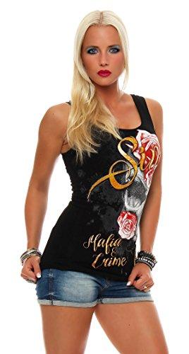 Mafia and Crime Damen T-Shirt Top Sin Schwarz