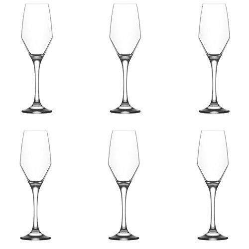 LAV Ella Verre Champagne Tulipes – 230 ML – Lot de 6 flûtes à Champagne Verres à vin