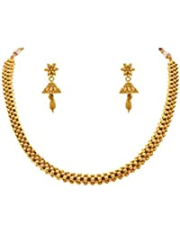 JFL - Traditional Ethnic One Gram Gold Plated Beads Designer Necklace Set With Jhumka For Women & Girls.