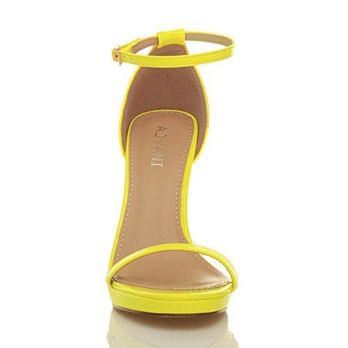 Femmes talons hauts boucle mode fête lanières chaussures sandales pointure Néon Jaune