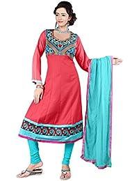 Jheenu Women's Orange Cotton anarkali Embroidered Unstitched Dress Material
