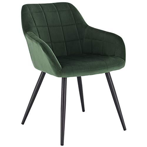 WOLTU® Esszimmerstuhl BH93dgn-1 1 Stück Küchenstuhl Polsterstuhl Wohnzimmerstuhl Sessel mit Armlehne, Sitzfläche aus Samt, Metallbeine, Dunkelgrün