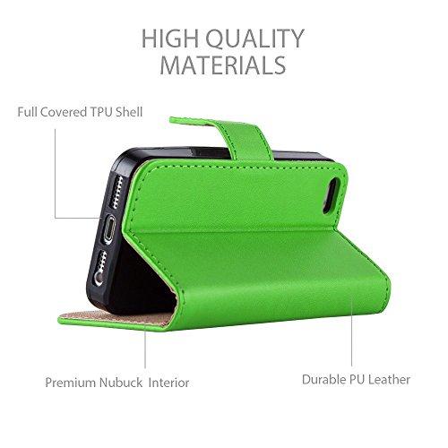 IPhone 5G / 5S / SE - Housse en cuir pour iPhone 5G / 5S / SE + Protecteur d'écran gratuit avec chiffon de polissage en microfibre Par Panaaz - Noir Vert Citron