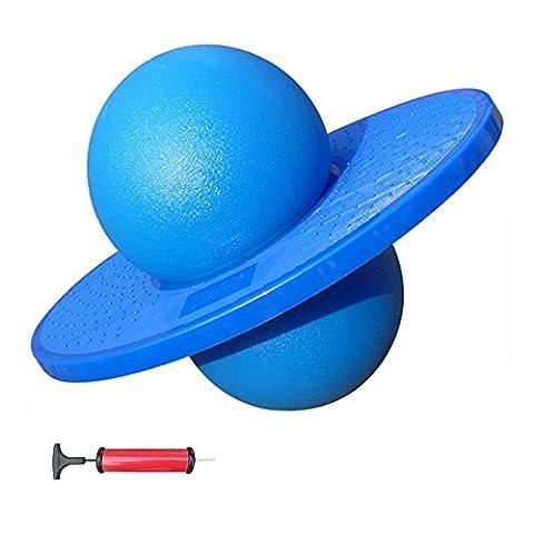 ZeleSouris Erwachsene Kinder Hüpfball Moonhopper, Explosionssicher inkl. Pumpe und Trainings- CD Blau blau