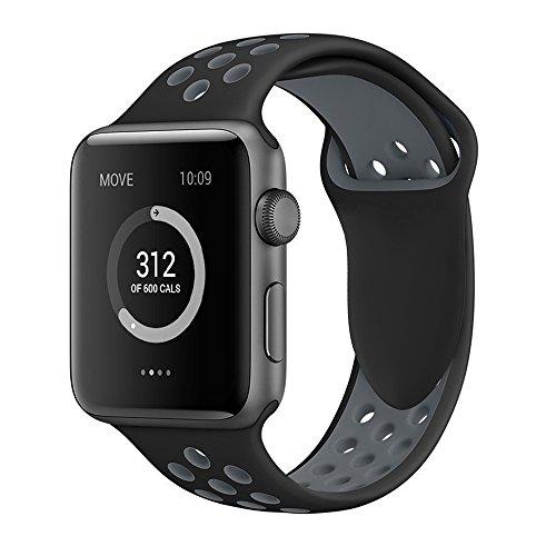 Apple Watch Armband 42mm, Soft Silikon Ersatz Uhrenarmbänder für iWatch Serie 3 Serie 2 Serie 1 Sport (42mm Schwarz/Grau)