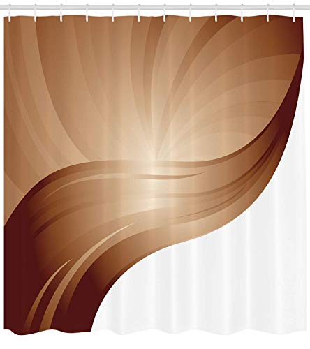 tgyew Chocolate Shower Curtain, Spiraling Stripes with Monochrome Tones Modern Art Inspirations Abstract, Cloth Fabric Bathroom Decor Set with Hooks, 66x72 inches, White Brown 66 Chocolate Mold