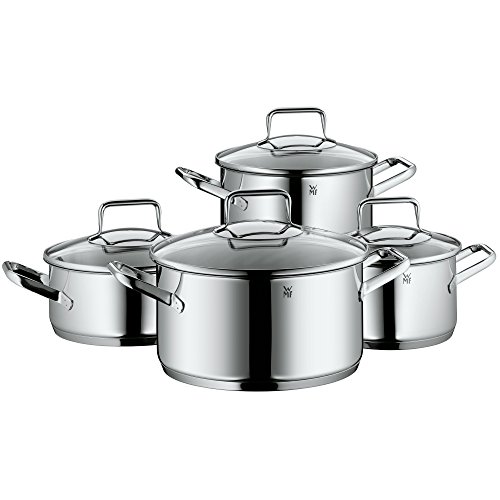 WMF cookware set 4-piece Trend Made in Germany hollow side handles glass lid Cromargan stainless steel brushed suitable for all stove tops including induction dishwasher-safe
