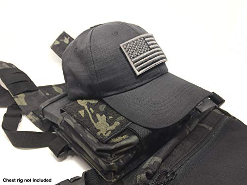 Emproda Black Tactical Cap Bundle with USA Flag Patches Durable Black Hat with Moral Patches Adjustable Tactical Cap Fit Most Perfect for Training Jagd Airsoft Operations Camping Wandern