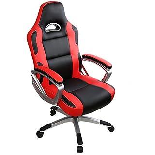 IntimaTe WM Heart Racing Chaise de Gamer Professionnel Siège de Bureau Fauteuil de Gaming Ergonomique Dossier Haut Inclinable en Similicuir pour PC Joueur (Rouge)