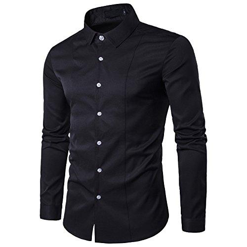 Kuson Herren Langarm Hemd einfarbig klassisch Hemden Business slim, Schwarz, Gr. L