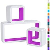WOLTU 3er Set Wandregal Cube Regal Bücherregal Regalsysteme, Retro Hängeregal RG9229la, Weiß-violett