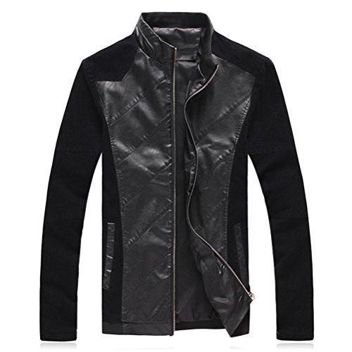 Zhuhaitf Style Décontracté Mens Faux Leather Jackets Long Sleeve Slim Fit Outerwear Windbreaker Black
