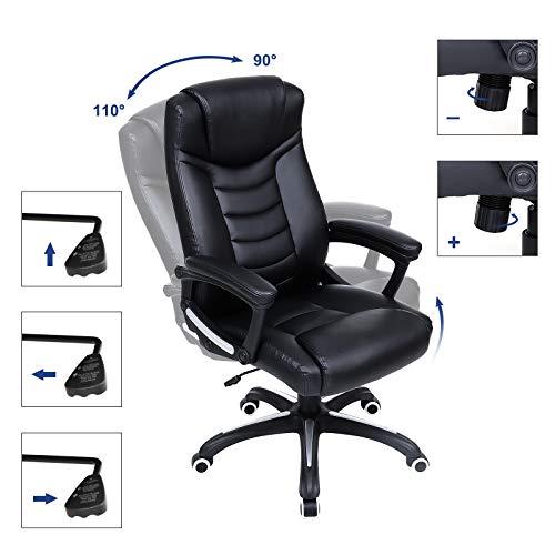 Songmics schwarz Bürostuhl Chefsessel Bürodrehstuhl hoher sitzkomfort OBG21B - 6