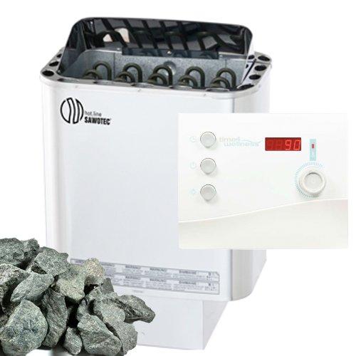 Sawo Nordex Saunaofen 6 kW + Saunasteuerung Sentiotec K2 für die finnische Sauna + Steine