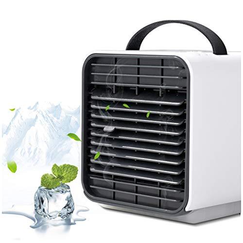 Mini Air Cooler Mobile Klimaanlage Verdunstungskühler Negatives Ion Luftkühler Abkühlen Ventilator Luftbefeuchter USB Tragbar Fan mit LED Licht für Büro, Haus, Reisen, Schlafsaal VNEIRW (Weiß)