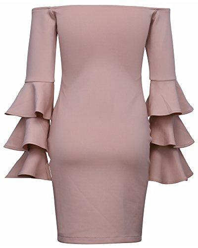 Whoinshop -  Vestito  - fasciante - Maniche lunghe  - Donna Pink