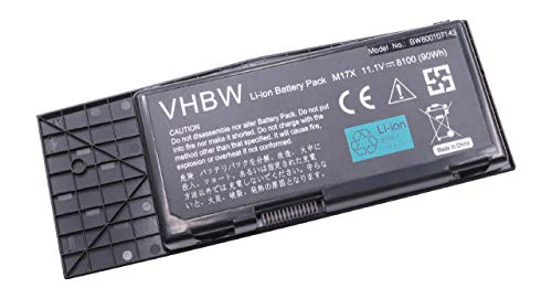 vhbw Li-Ion Akku 8100mAh (11.1V) für Notebook Laptop Dell Alienware M17x R3, M17x R4 wie 318-039, BTYVOY1, 7XC9N. -
