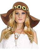 Horror-Shop Brauner 60s Sonnenblumen-Hut für Damen als Hippie Kostümzubehör