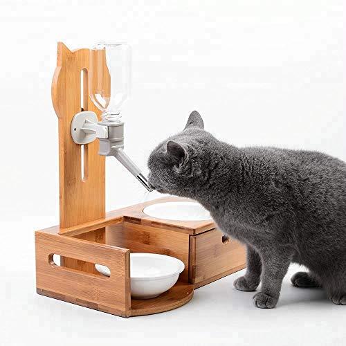 Pet Wasserspender pet automatische und einstellbare Trinkbrunnen pet Wassertrinker Bambus Pet Bowl Feeder mit Schublade Lagerung Live-Frühlings-Trinker (Color : Bamboo wood) -