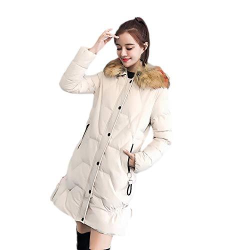 Damen Warm Coat Slim Fit Pelzkragenjacke, EUZeo Midi Mäntel Kapuze Pulli Einfarbig Langarm Outwear Dicke Mantel Jacke Tops Blusen