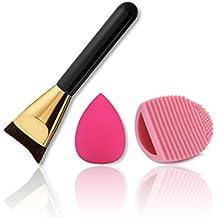 BrilliantDay Pro 4 Pcs brochas de maquillaje cosméticas Kit + 1 Esponja Fundación Puff + 1 Limpieza Maquillaje Guante - profesional cepillos / pinceles conjunto para Corrector Sombra de Ojos Ceja Fundación Polvo